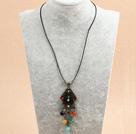 复古彩色玛瑙皮绳项链