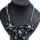 蓝色珍珠水晶花朵项链