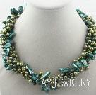 绿色染色珍珠项链