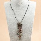 黑水晶白蝶贝项链