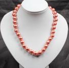 12mm橘粉色玻璃珍珠圆珠项链