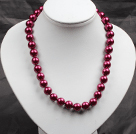 12mm深玫红色玻璃珍珠圆珠项链