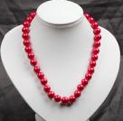12mm红色玻璃珍珠圆珠项链