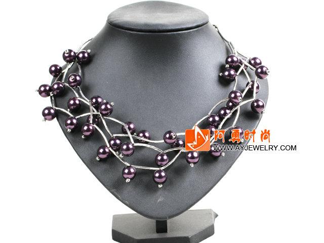深紫色贝壳珠时尚项链