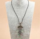 心形紫萤石皮绳项链
