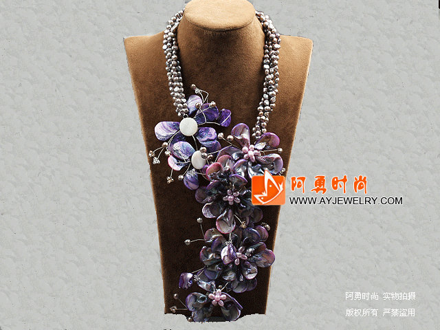 紫色珍珠贝壳花夸张项链