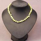 黄绿色土豆形珍珠项链