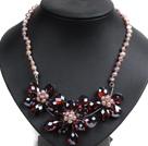 酒红色水晶花朵紫色珍珠项链