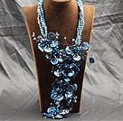 蓝色珍珠贝壳花夸张项链