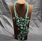 绿色珍珠贝壳花夸张项链