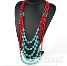 多层珊瑚松石项链毛衣链