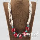 珍珠松石珊瑚项链