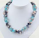 珍珠水晶蓝晶石琉璃项链