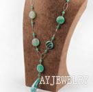 绿线条玛瑙项链
