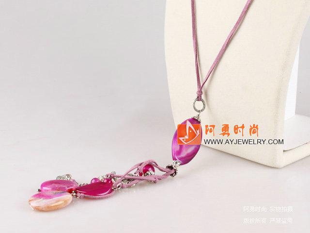巴西玫瑰粉玛瑙项链
