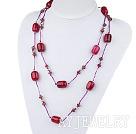 水晶玫红玛瑙项链毛衣链
