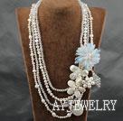珍珠水晶白松石贝壳项链 多层编花款