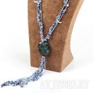 蓝矿石蓝玛瑙雕花项链毛衣链