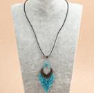 蓝色水晶皮绳项链