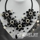 珍珠黑水晶花项链 皮绳编花款
