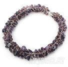 紫水晶玻璃水晶项链 合金链款