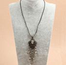 复古灰色水晶皮绳项链
