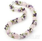 粉晶橄榄石紫晶珍珠项链 唯美款