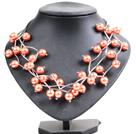 橘红色贝壳珠时尚项链