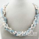 白珍珠海蓝宝项链