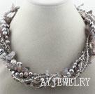 牙齿珍珠灰玛瑙项链
