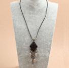 复古灰玛瑙水晶皮绳项链