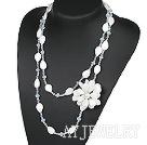 水晶白贝花项链毛衣链