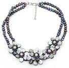 黑珍珠贝壳花项链