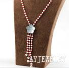 珍珠珊瑚贝壳花扣项链毛衣链