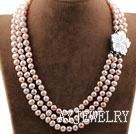 三排天然紫珍珠项链