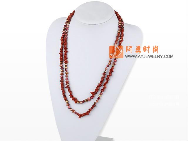 珍珠红石长款项链毛衣链