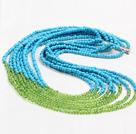 蓝绿塑料珠项链 多层款