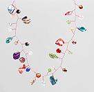 彩色水晶贝壳编织项链