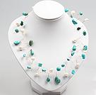 白珍珠松石编织项链