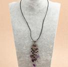 石榴石紫晶皮绳项链