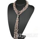 珍珠粉晶项链毛衣链 Y形款