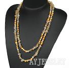 珍珠黄水晶长款项链毛衣链