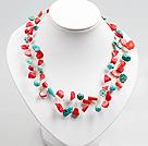 松石珊瑚编织项链