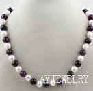 珍珠切面紫玛瑙项链