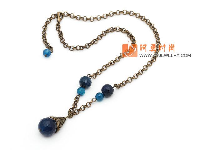 复古蓝玛瑙项链