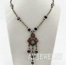 复古珍珠石榴石项链