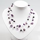 紫晶珍珠编织项链