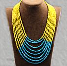 多层黄蓝双色塑料珠米珠项链