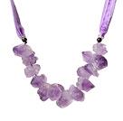 磨砂紫晶随形项链 绒布绳款