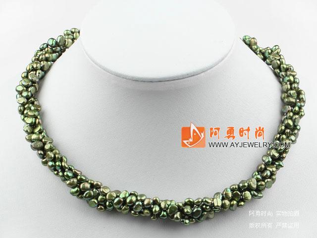 橄榄色珍珠项链